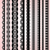 A set of cute black lace ribbons on a pink background. Vector illustration