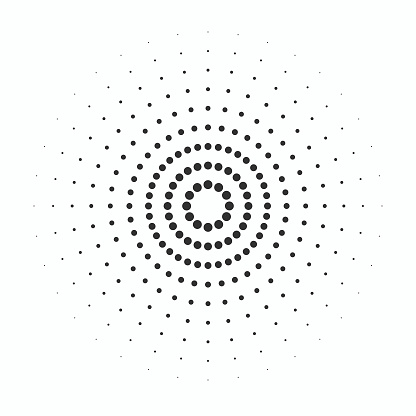Identification process. Abstract background. Black rings sound wave and line with points in a circle. Sound wave wallpaper. Radio station signal. Circle spin vector background.