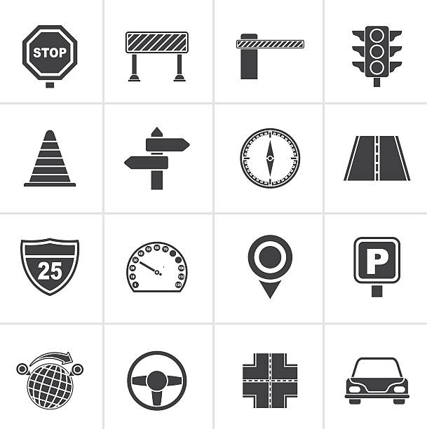 Black Road and Traffic Icons Black Road and Traffic Icons - vector icon set septum stock illustrations