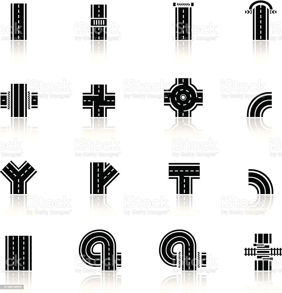 Black Road Icons vector art illustration
