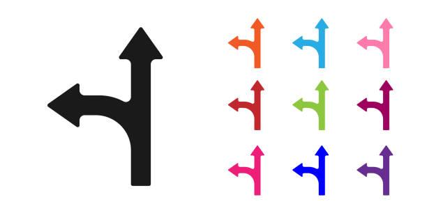 bildbanksillustrationer, clip art samt tecknat material och ikoner med trafikskylt för black road. signpostikonen isolerad på vit bakgrund. pekarsymbol. enstaka gatuinformationsskylt. riktningsskylt. ställ in ikoner färgglada. vektor illustration - stock arrow