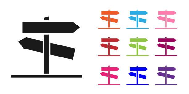 bildbanksillustrationer, clip art samt tecknat material och ikoner med svart vägtrafiksskylt. signpost-ikonen isolerad på vit bakgrund. pekarsymbol. gatuinformationsskylt. riktningsskylt. ställ ikoner färgglada. illustration av vektor - stock arrow