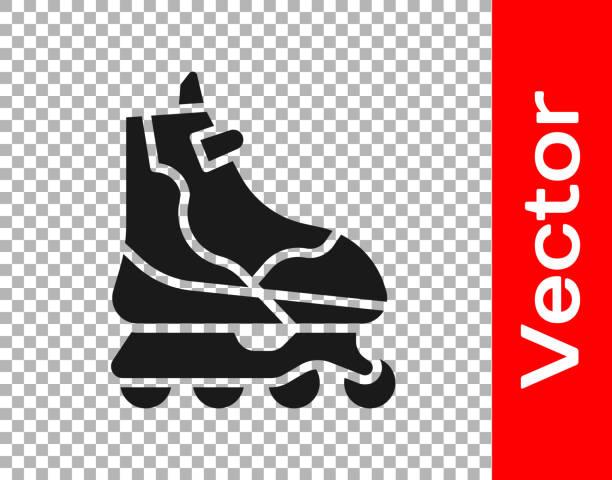 ilustrações, clipart, desenhos animados e ícones de ícone de skate black roller isolado em fundo transparente. ilustração vetorial - ícones de design planar