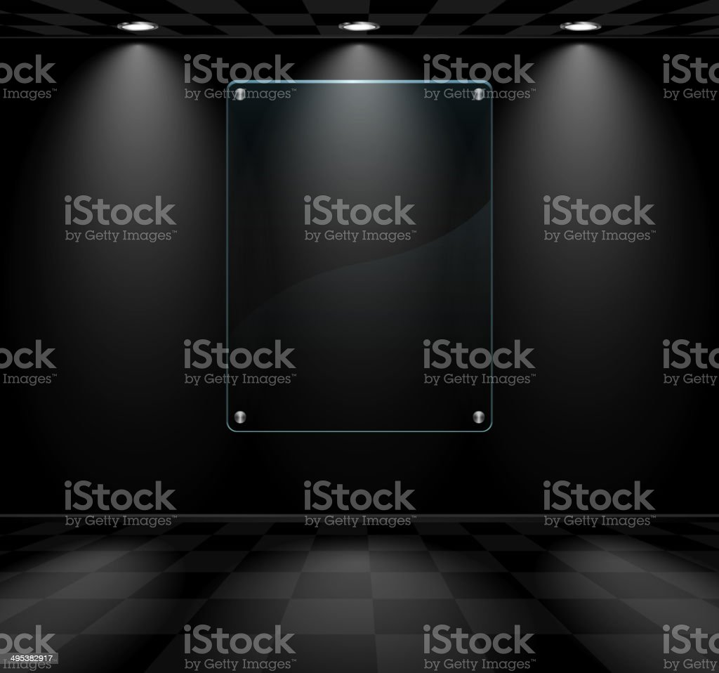 Black room with glass placeholder vector art illustration