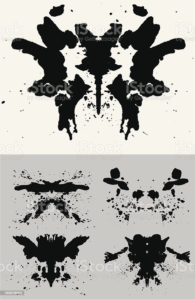 Black Rorschach Set on a white and grey background vector art illustration