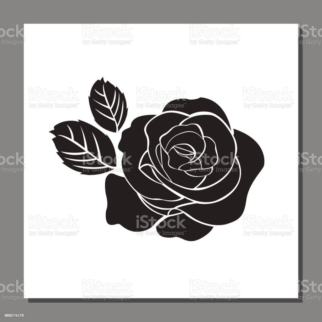 f429e793c Black Rose Icon On Frame Flower Vector Illustration Stock Vector Art ...