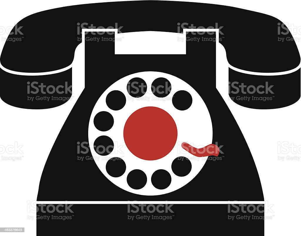 black rotary phone vector art illustration