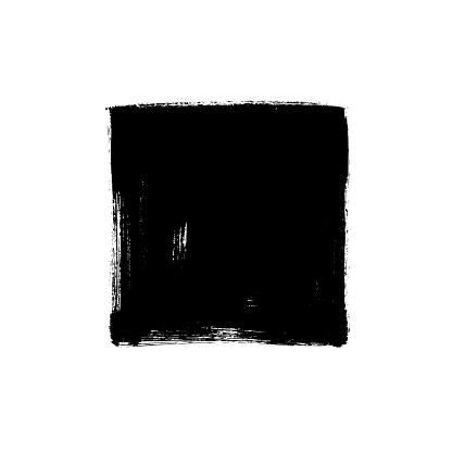 Black rough edge vector square box. Black painted square or rectangular shape.