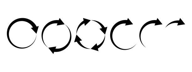 Black round arrows set, circle shapes. Vector Black round arrows set, circle shapes. Vector illustration curve stock illustrations