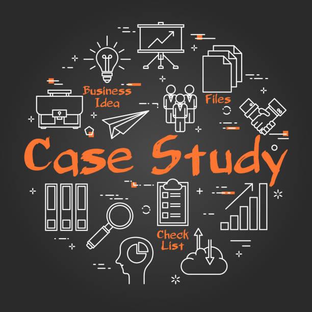 illustrazioni stock, clip art, cartoni animati e icone di tendenza di black round case study concept on black chalkboard - borsa 24 ore
