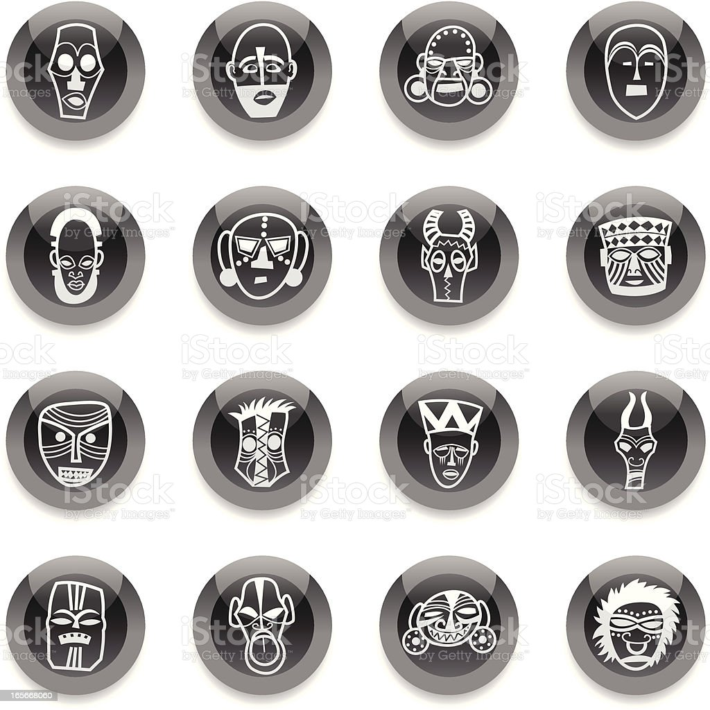 Black Round Icons -  African Masks vector art illustration