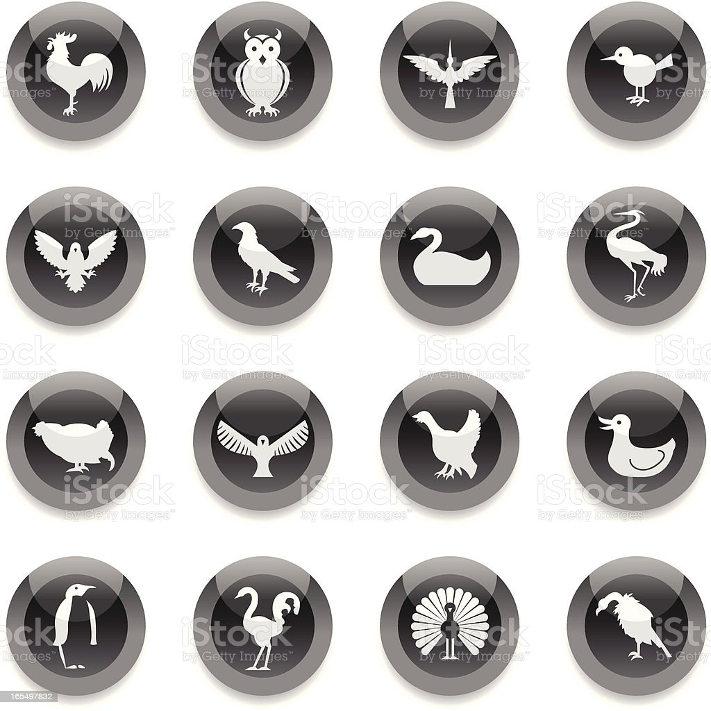Black Round Icons - Birds royalty-free stock vector art
