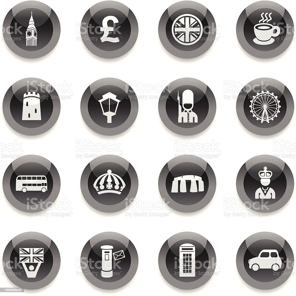 Black Round Icons - England royalty-free stock vector art