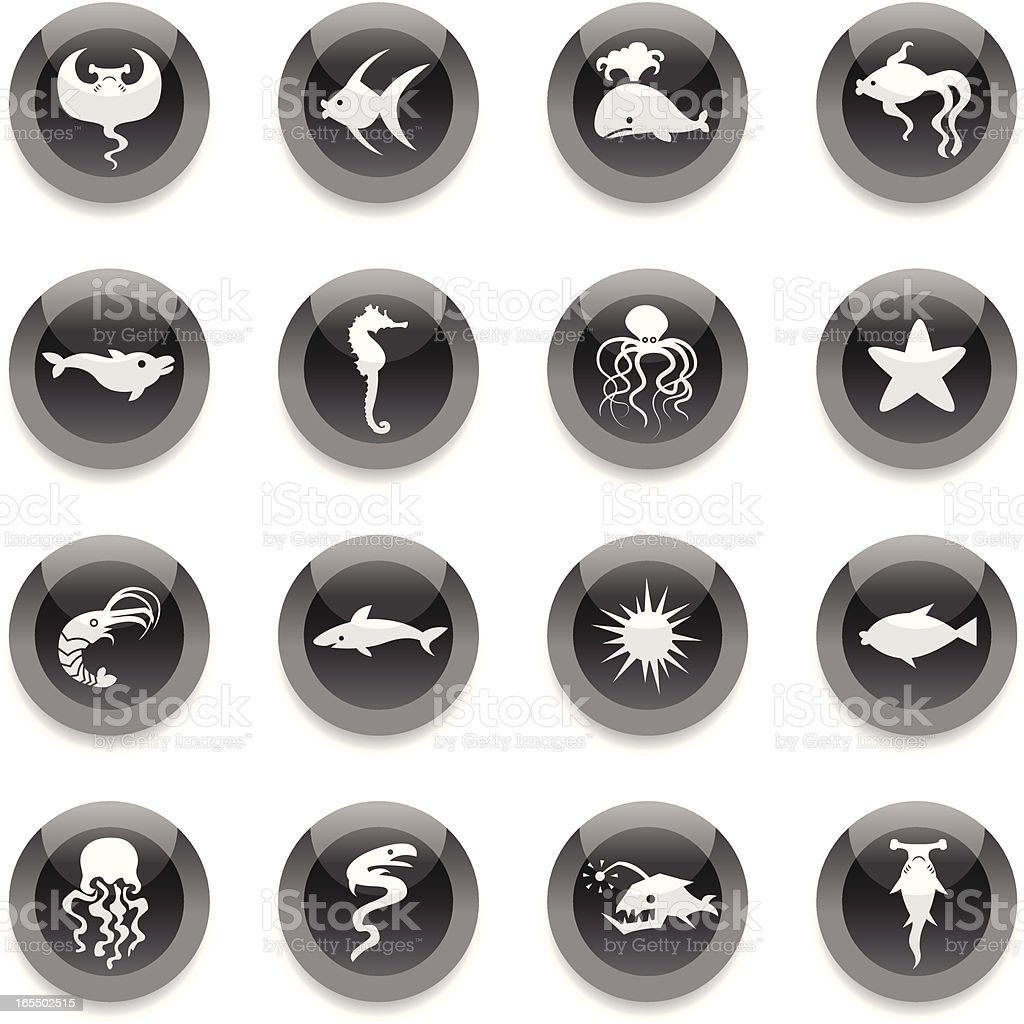 Black Round Icons - Fishes royalty-free stock vector art