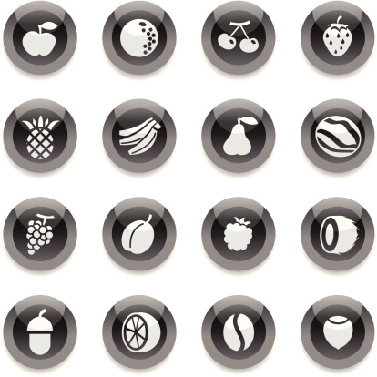Black Round Icons -  Fruits