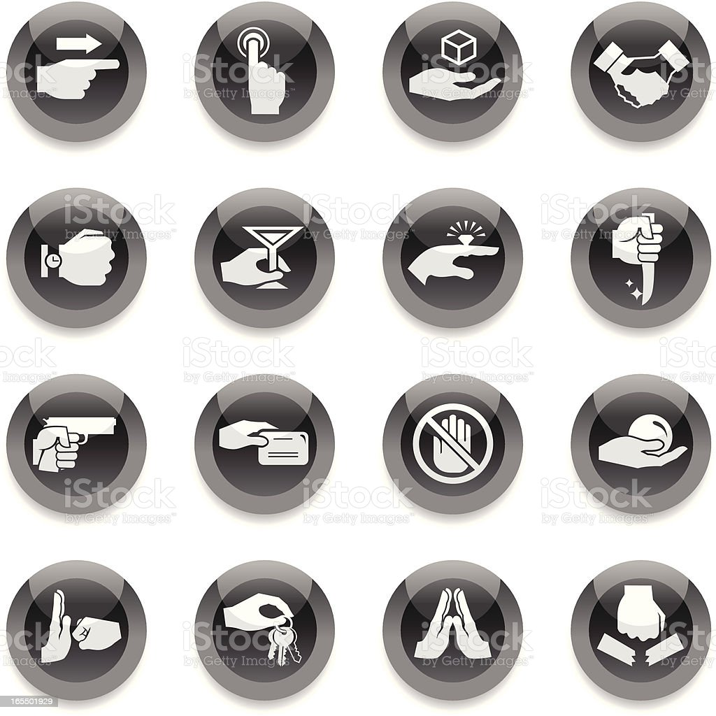 Black Round Icons - Hands 2 royalty-free black round icons hands 2 stock vector art & more images of arrow symbol