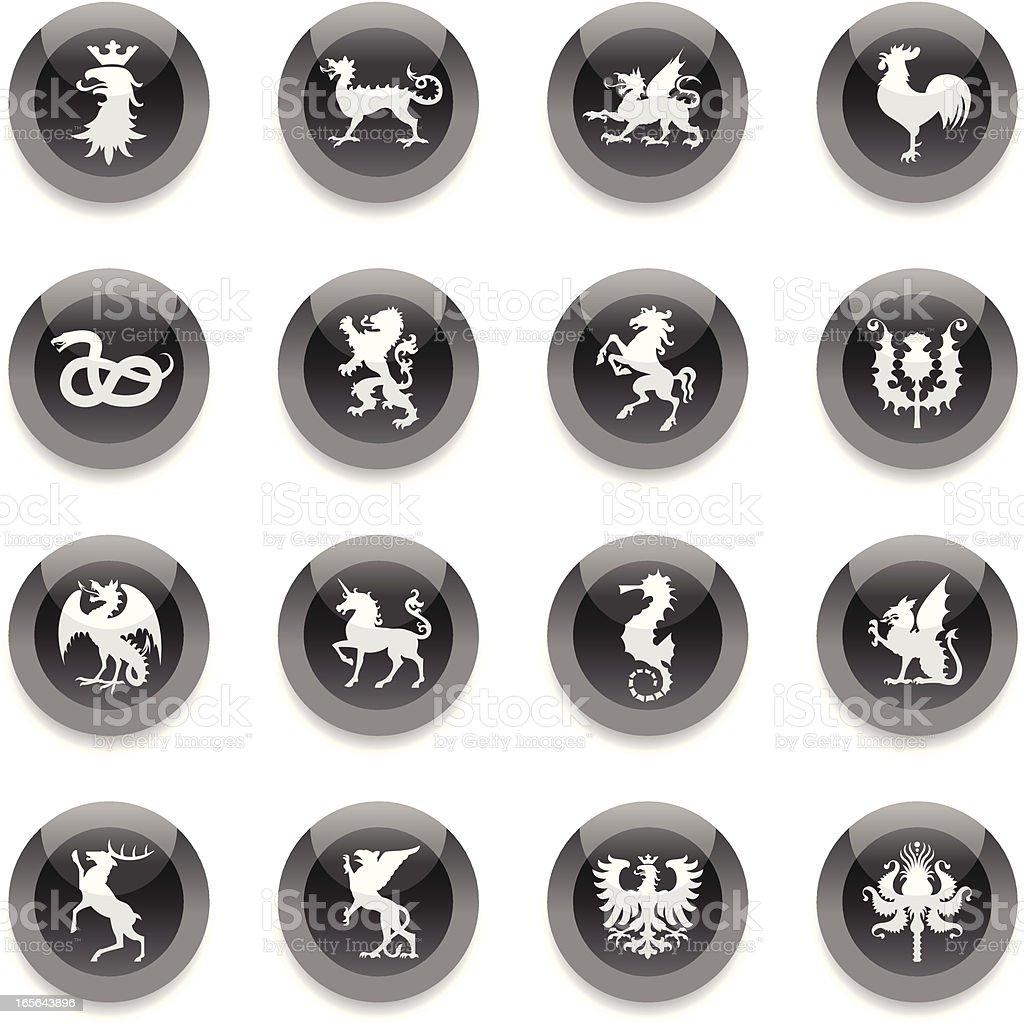 Black Round Icons - Heraldic Animals royalty-free black round icons heraldic animals stock vector art & more images of animal
