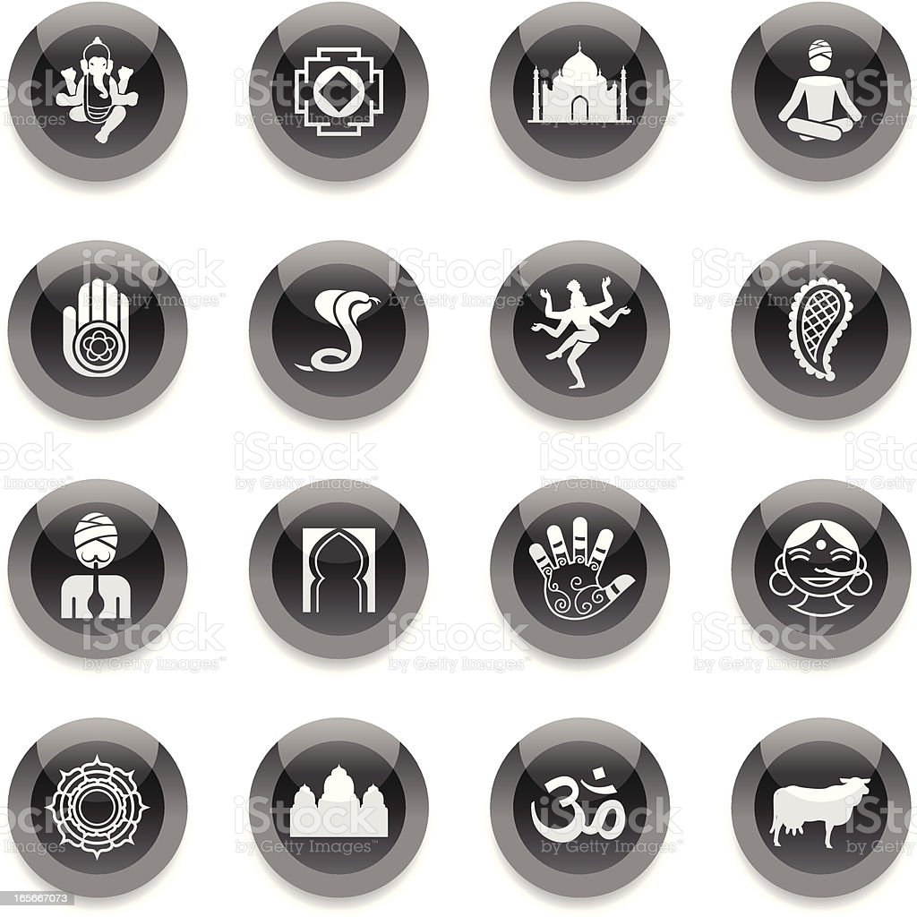 Black Round Icons - India royalty-free stock vector art