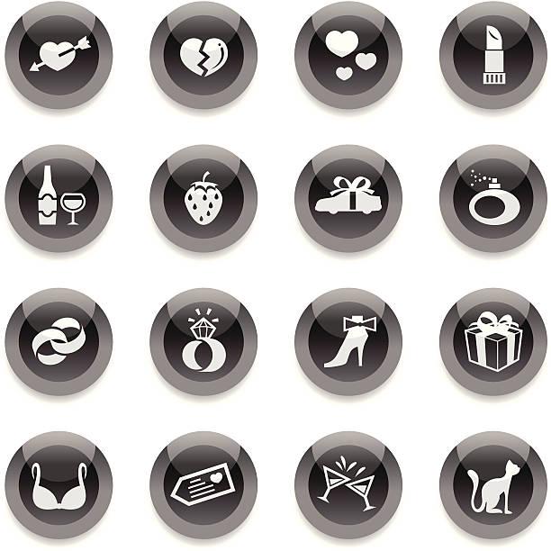 Ronde noir icônes-Amour - Illustration vectorielle