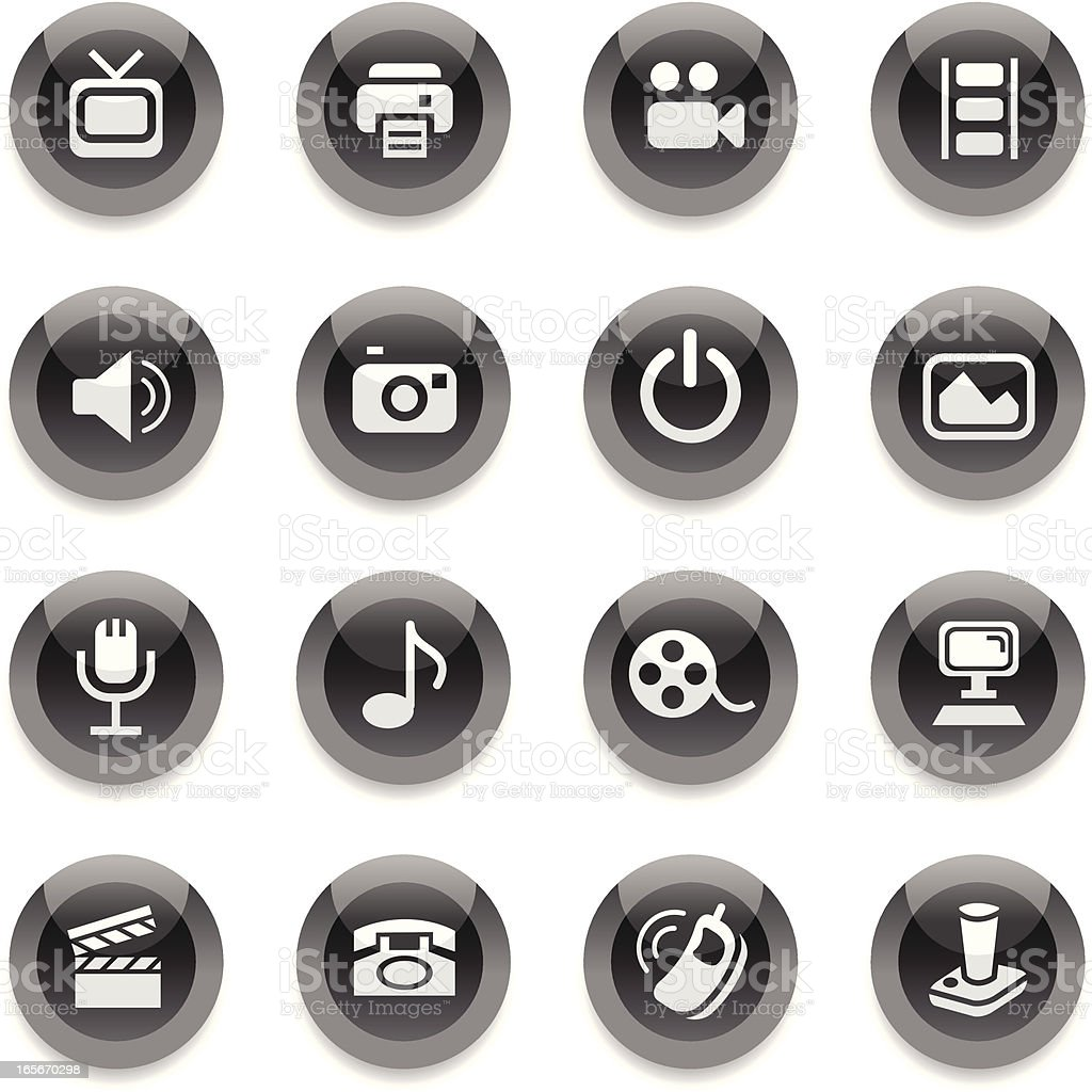 Black Round Icons - Media royalty-free black round icons media stock vector art & more images of black color