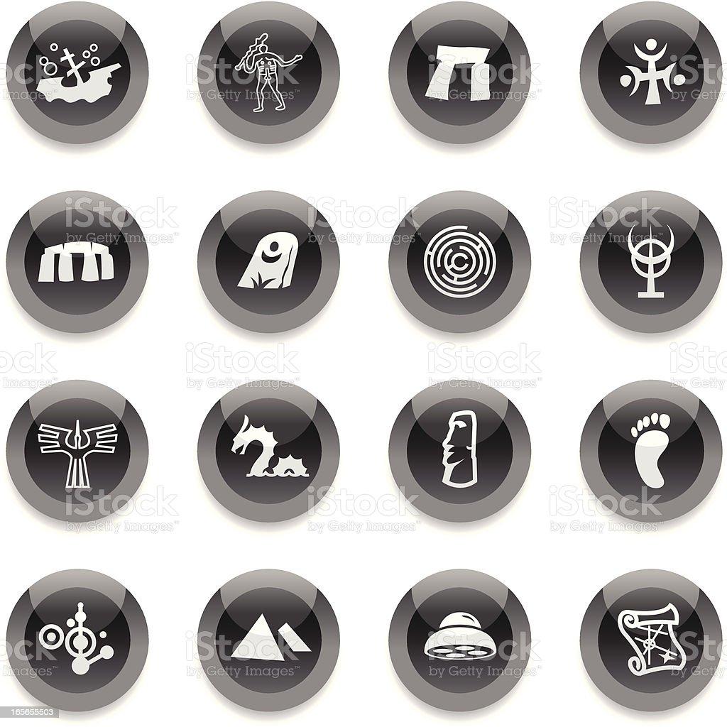 Black Round Icons -  Mysteries vector art illustration