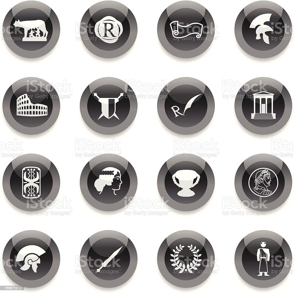 Black Round Icons -  Roman Empire royalty-free stock vector art