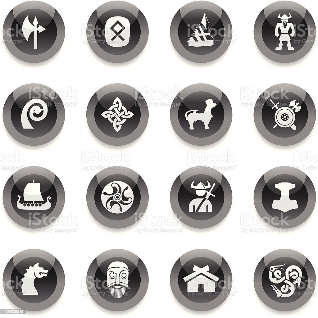 Black Round Icons - Vikings royalty-free stock vector art