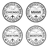 Black round postmarks for envelope with main american cities. Vector illustration isolated on white background
