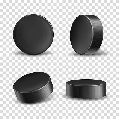 Black rubber pucks for ice hockey