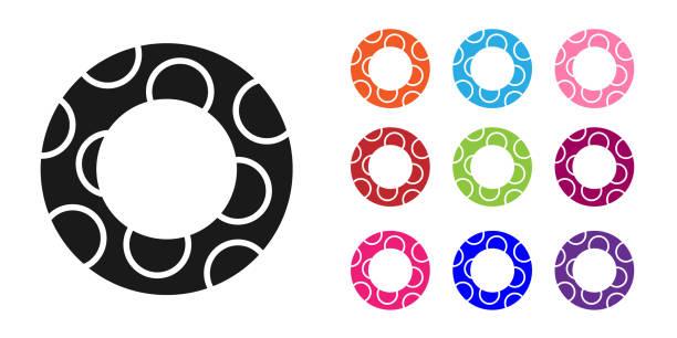 bildbanksillustrationer, clip art samt tecknat material och ikoner med svart gummi simning ring ikon isolerad på vit bakgrund. livräddande flytande livboj för stranden, räddningsbälte för att rädda människor. ställ in ikoner färgglada. vektor illustration - inflatable ring