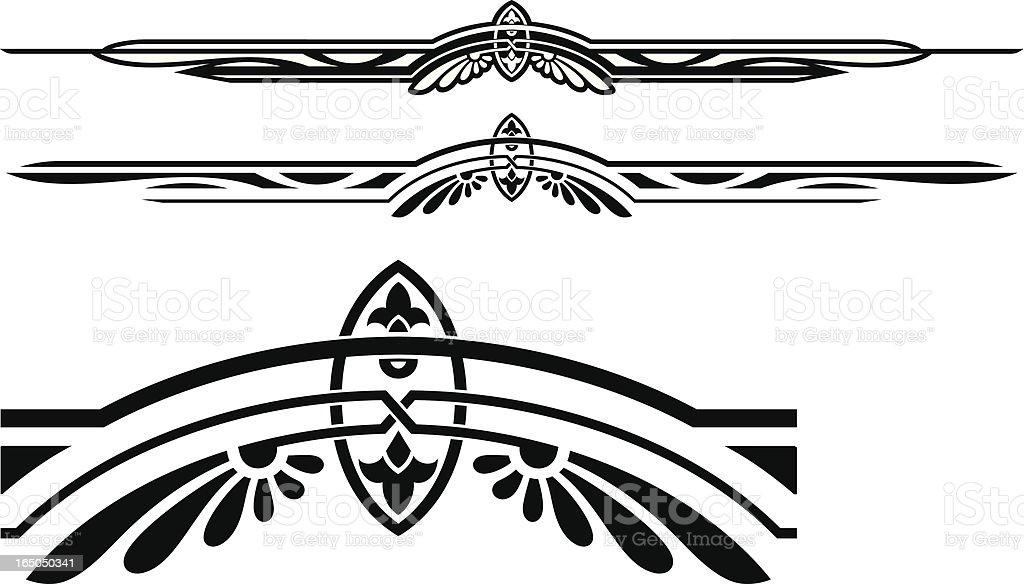Black ruleline designs on a white background vector art illustration