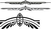 Black ruleline designs on a white background
