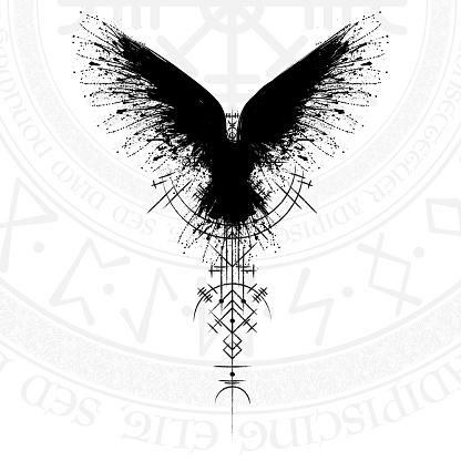 Black runic raven scandinavian symbol