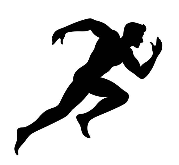 siyah runner - running stock illustrations