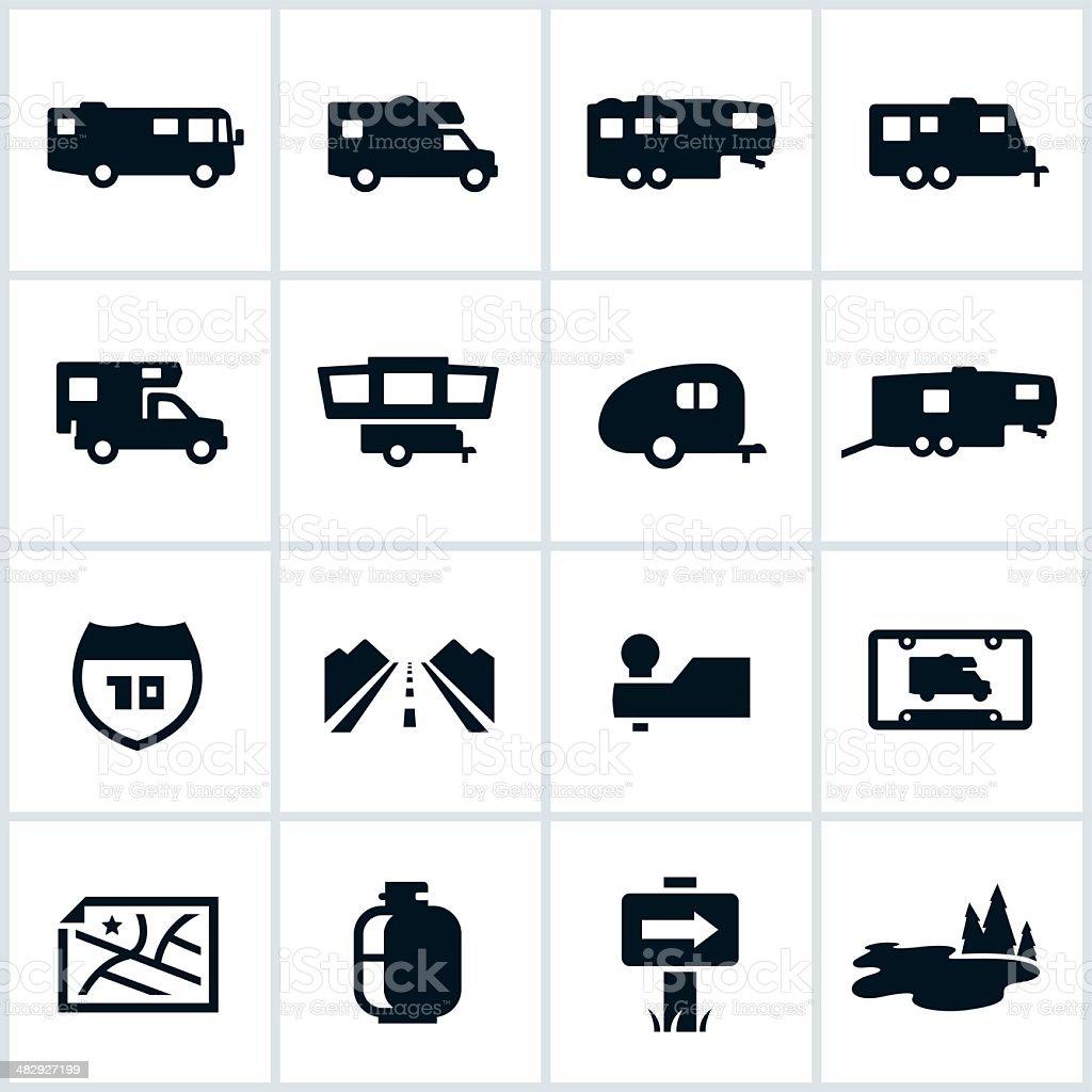 Black RV Icons vector art illustration