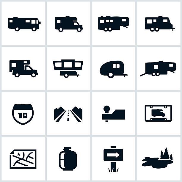 schwarze wohnmobile symbole - campinganhänger stock-grafiken, -clipart, -cartoons und -symbole