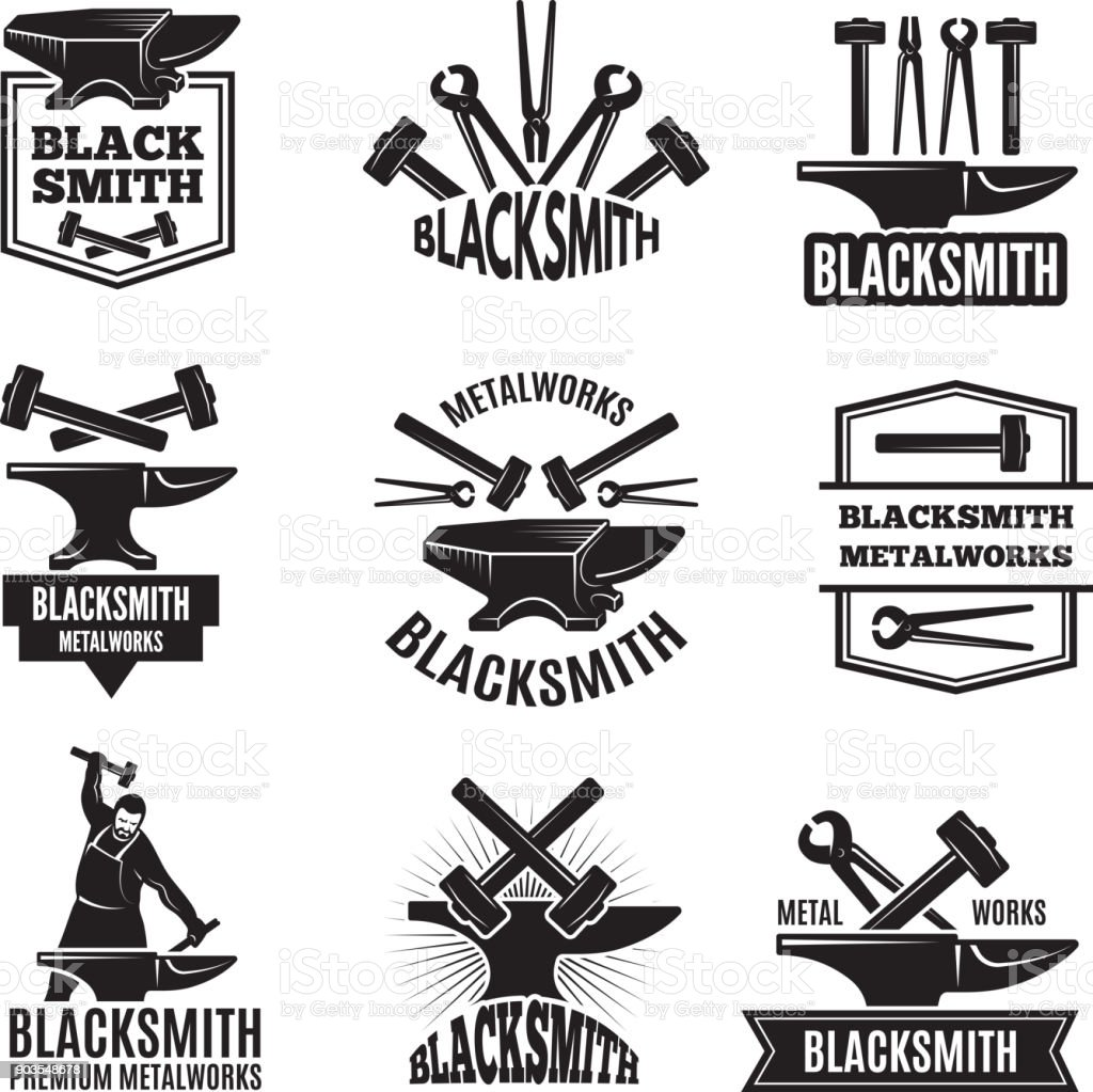 Black s for blacksmith. Vintage labels set vector art illustration