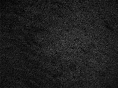 istock Black sand - amazing mysterious surface with delicate light effect and visible little pebbles - starry sky - finley and densely woven carpet in macro - vector illustration with uneven dark textured background - soft textile 1280307919