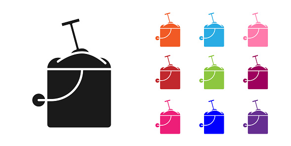 Black Sand in bucket with shovel icon isolated on white background. Plastic kid toy. Summer icon. Set icons colorful. Vector Illustration