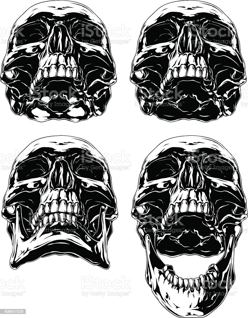 Black Scary Graphic Human Skull Tattoo Set Stock Vektor Art und mehr ...