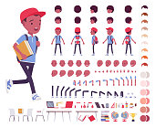 Black school boy in a casual wear construction set. Cute guy, active young kid, smart elementary pupil, 7, 9 year old creation elements to build own design. Cartoon flat style infographic illustration