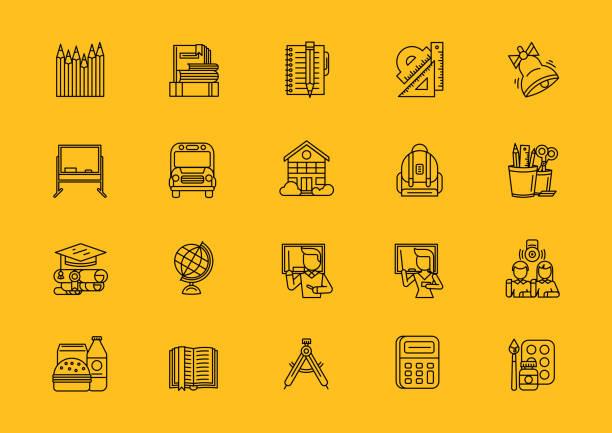 ilustrações de stock, clip art, desenhos animados e ícones de black school thin lines outline stroke icons - teacher school solo