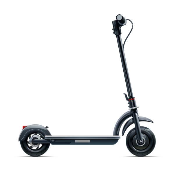 stockillustraties, clipart, cartoons en iconen met zwarte scooter. stadsvervoer. vector illustratie. - step