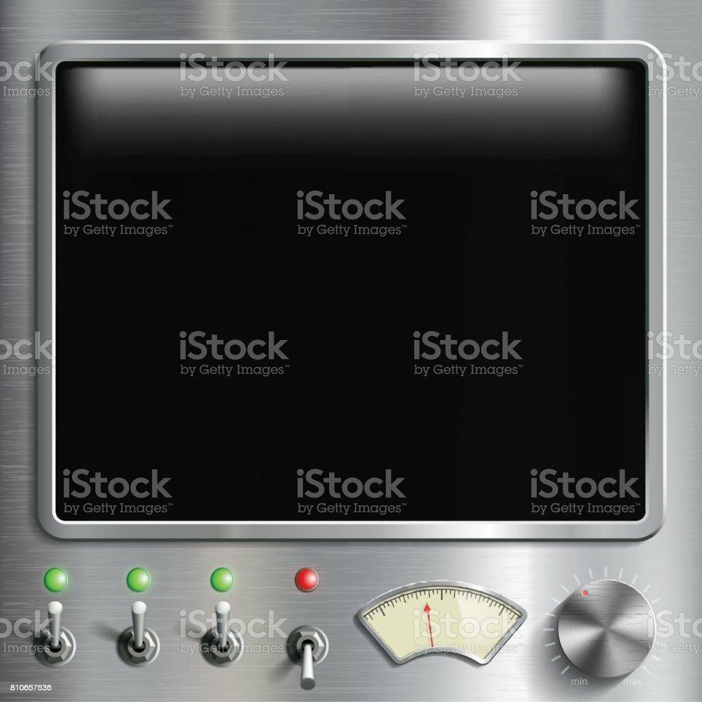 Black screen monitor with dashboard.