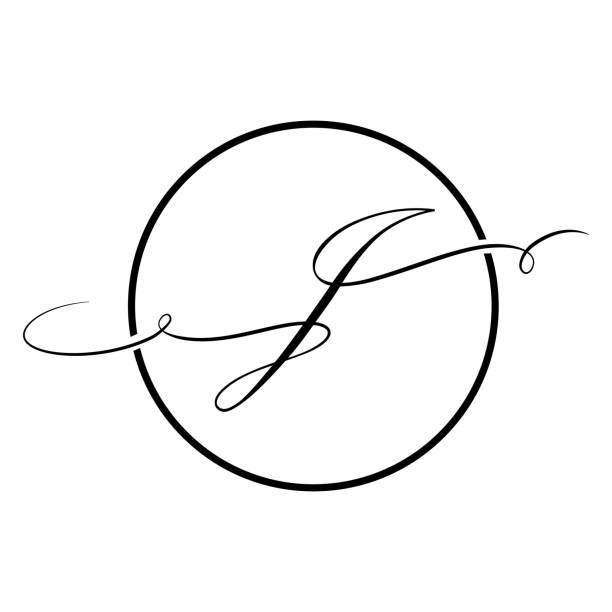 black script letter j Calligraphic, black script letter letter j stock illustrations