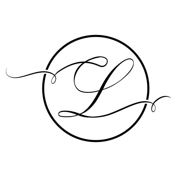 black script letter l Calligraphic, black script letter letter l stock illustrations