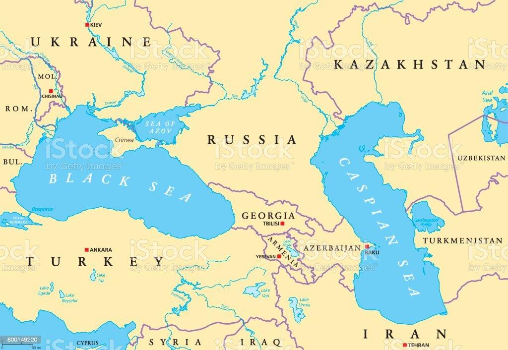 Black Sea and Caspian Sea region political map vector art illustration