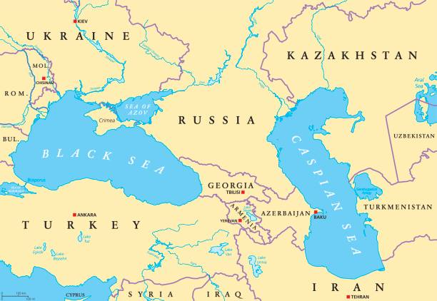Black Sea and Caspian Sea region political map Black Sea and Caspian Sea region political map with capitals, international borders, rivers and lakes. Bodies of water between Eastern Europe and Western Asia. Illustration. English labeling. Vector. armenia country stock illustrations