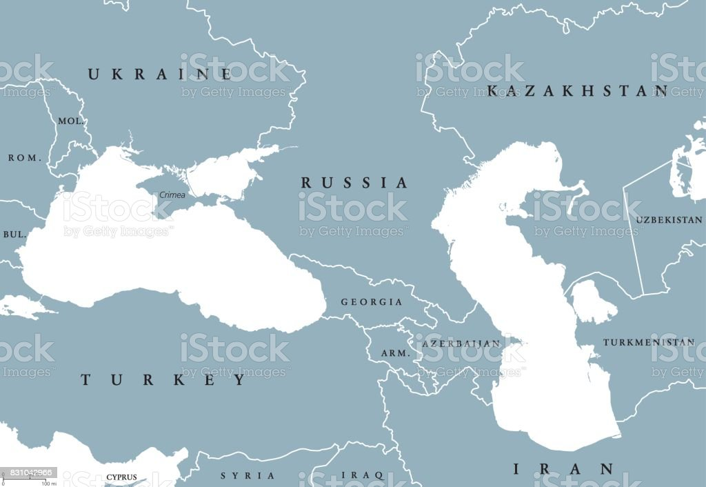 Black Sea and Caspian Sea region political map vector art illustration