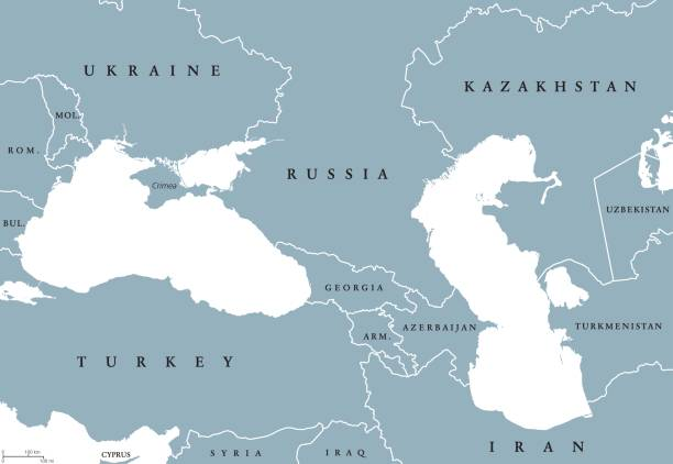 Black Sea and Caspian Sea region political map Black Sea and Caspian Sea region political map with countries, borders and English labeling. Bodies of water between Eastern Europe and Western Asia. Gray illustration. Vector. azerbaijan stock illustrations